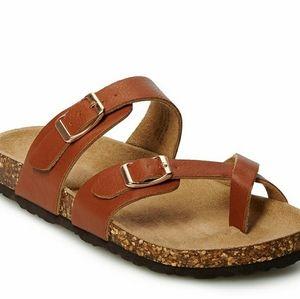 So Brand Elisha Cognac sandals with gold buckle